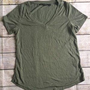 Athleta Army green v neck tee t shirt S